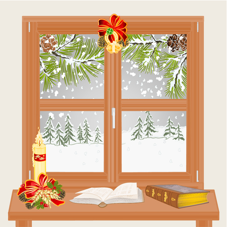 Winter window with Christmas candle and old books  and Winter landscape with pine branches vintage vector  illustration editable hand draw Illustration