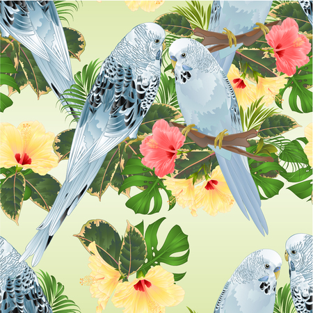 Seamless texture birds Budgerigars, home pets ,blue pets parakeets  on a branch bouquet with tropical flowers hibiscus, palm,philodendron on a white background vintage vector illustration editable hand draw