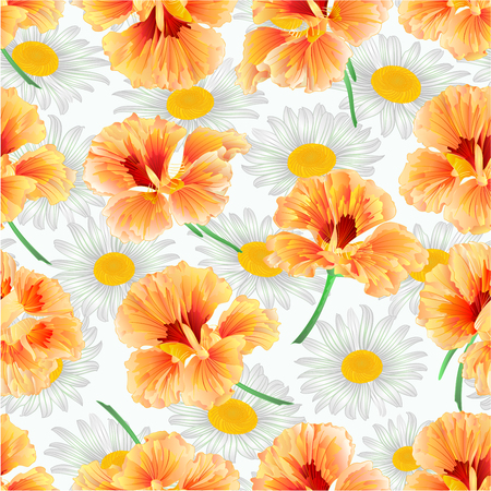 Spring flower watercress and daisies natural background vintage vector illustration  editable hand draw Illustration