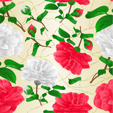Seamless texture red and white lowers Camellia Japonica with buds cracked background vintage vector illustration editable hand draw Vector Illustratie