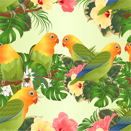 Seamless texture Parrots Agapornis lovebird tropical birds standing on a branch and Brugmansia with pink and yellow hibiscus vintage vector illustration editable hand draw Vector Illustratie