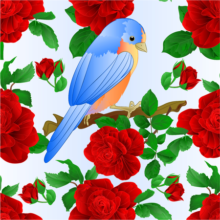 Seamless texture Small songbirdon Bluebird thrush and red rose spring background vintage vector illustration editable hand draw Vector Illustratie