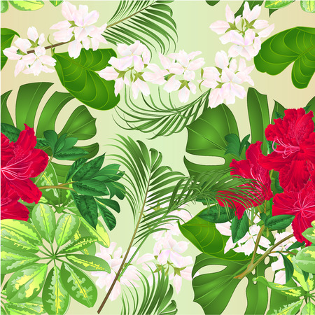 Seamless texture bouquet with tropical flowers floral arrangement, with beautiful red rhododendron , Schefflera ,philodendron and ficus natural background vintage vector illustration  editable hand draw