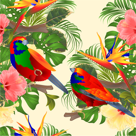 Seamless texture   tropical birds Euplectes and tropical flowers  pink and yellow hibiscus and Strelitzia palm,philodendron and ficus vintage vector illustration  editable hand draw