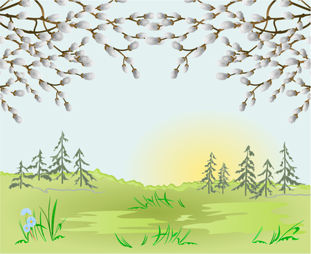 Spring landscape forest Easter background and pussy willow in the grass with flowers place for text vintage vector illustration editable hand draw