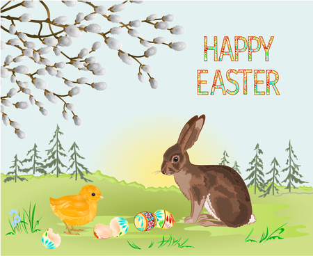 Happy easter spring landscape forest  hare and Easter chick and easter eggs in the grass with flowers vintage vector illustration editable hand draw
