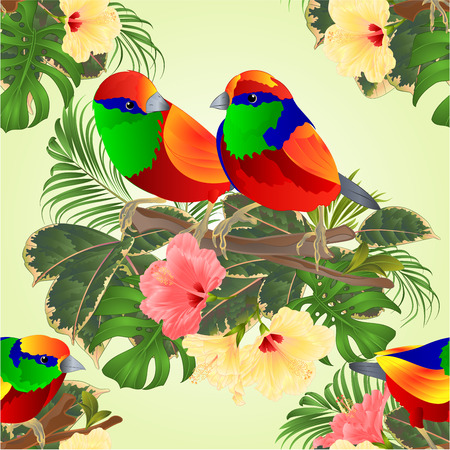 Seamless texture tropical birds  on a branch bouquet with tropical flowers hibiscus palm,philodendron on a white background vintage vector illustration editable hand draw