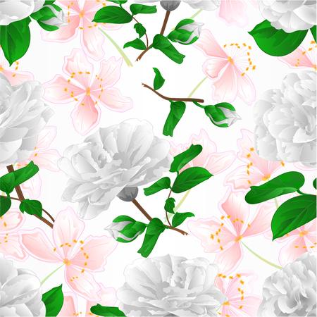 Nahtlose Textur drei weiße Blumen Camellia Japonica mit Sakura Vintage Vector Illustration editierbare Hand zeichnen illustration