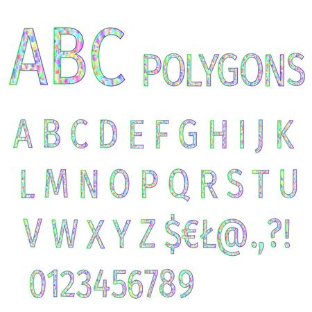 Alphabet of polygons multi colored mosaic font and numbers vector illustration editable hand draw Vektoros illusztráció