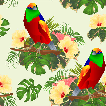 Seamless texture tropical bird  on a branch  with tropical flowers hibiscus palm,philodendron watercolor background vintage vector illustration editable hand draw