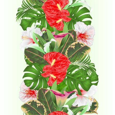 Tropical border seamless background floral arrangement  tropical flowers  lilies Cala and anthurium,white  hibiscus palm philodendron and ficus vintage vector illustration  editable hand draw Stock Illustratie