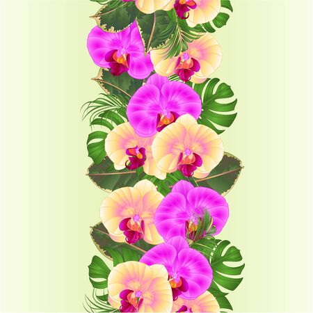 Floral vertical border seamless background bouquet with tropical flowers  floral arrangement, with beautiful yellow and purple orchids, palm,philodendron  vintage vector illustration  editable hand draw