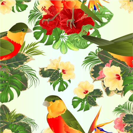 Seamless texture tropical birds cute small  funny  bird and yellow and pink hibiscus watercolor style on a white background vintage vector illustration editable hand draw