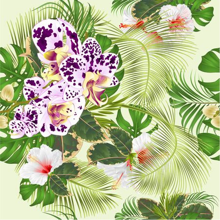 Seamless texture tropical flowers  floral arrangement, with spotted   orchid and white hibiscus   palm,philodendron and ficus vintage vector illustration  editable hand draw Stock Illustratie
