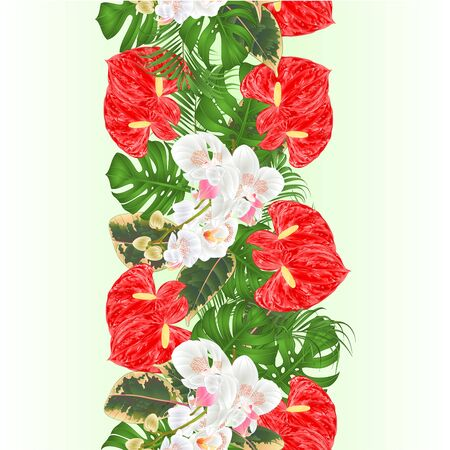 Floral vertical border seamless background bouquet with tropical flowers  floral arrangement, with beautiful white orchids ,lili, palm,philodendron  vintage vector illustration  editable hand draw