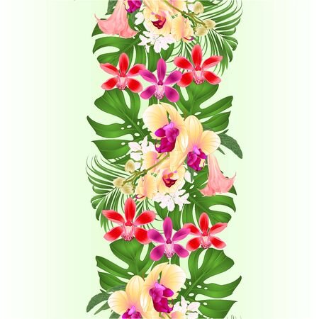 Vertical border seamless background with tropical flowers  beautiful yellow orchid and red cymbidium  palm,philodendron and Brugmansia  vintage vector illustration  editable hand draw