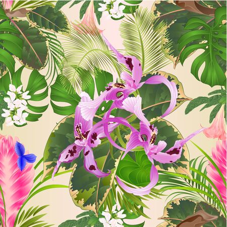 Seamless texture tropical flowers  floral arrangement, with   Orchid Dendrobium nobile spotted  purple and white and Tillandsia cyanea palm,philodendron  vintage vector illustration  editable hand draw