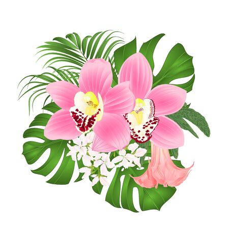 Bouquet with tropical flowers  floral arrangement, with beautiful pink orchids cymbidium, palm,philodendron and Brugmansia  vintage vector illustration  editable hand draw Stockfoto - 128182347