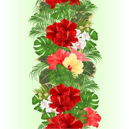 Vertical border seamless background  with tropical flowers floral arrangement, with beautiful hibiscus,orchid  palm,philodendron and ficus vintage vector illustration  editable hand draw Stock Illustratie
