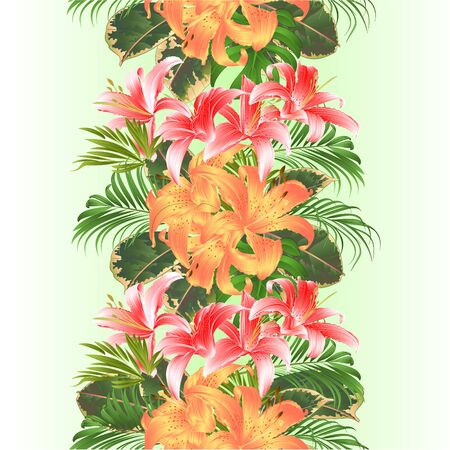Vertical border tropical seamless background flowers floral arrangement, with beautiful yellow and pink lilies, palm,philodendron and ficus vintage vector illustration  editable hand draw Stock Illustratie