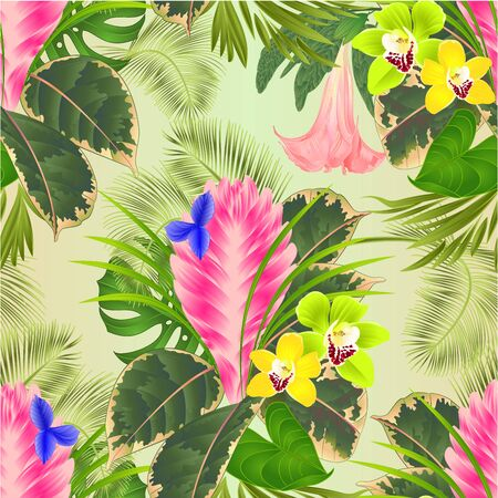 Seamless texture tropical flowers  floral arrangement, with  tillandsia cyanea  and orchids cymbidium  palm,philodendron  vintage vector illustration  editable hand draw Stockfoto - 128183839