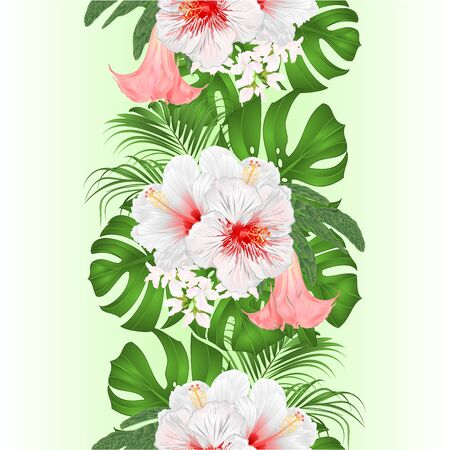 Vertical border seamless background  with tropical flowers  floral arrangement beautiful white hibiscus, palm,philodendron and Brugmansia  vintage vector illustration  editable hand draw Stockfoto - 128183838