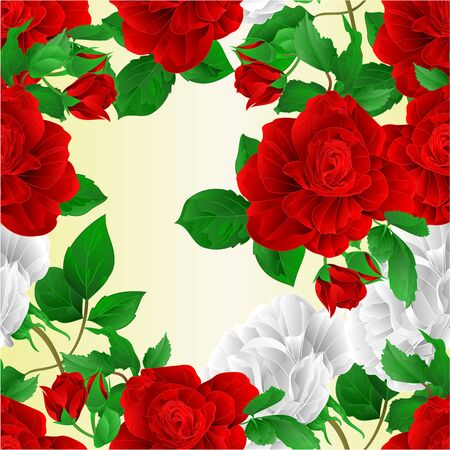 Seamless texture stems flowers red and white roses nature background vintage  vector illustration editable hand draw Foto de archivo - 128183844
