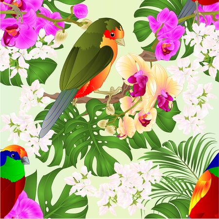 Seamless texture tropical birds standing on a purple and yellow orchids Phalaenopsis and palm, philodendronon nature  background vector illustration editable hand draw Foto de archivo - 128183847