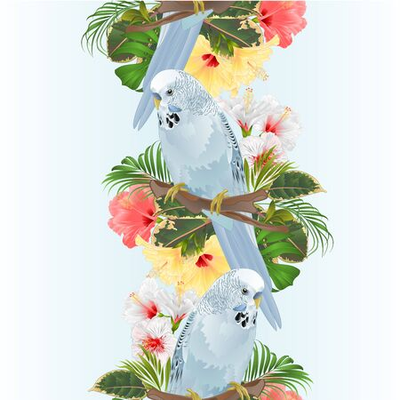 Vertical border seamless background bird Budgerigar, home pet ,blue pet parakeet  on a branch bouquet with tropical flowers hibiscus, palm,philodendron vintage vector illustration editable hand draw Foto de archivo - 128183850