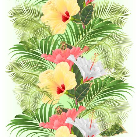 Vertical border seamless background tropical flowers  floral arrangement, with pink white and yellow hibiscus and  palm ficus  vintage vector illustration  editable hand draw