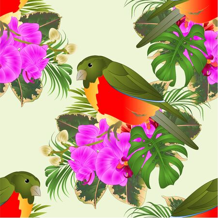 Seamless texture tropical bird with tropical flowers   floral arrangement, with beautiful hibiscus and orchid,palm,philodendron and ficus vintage vector illustration  editable hand draw