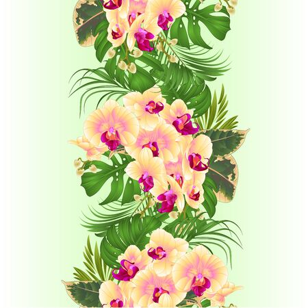 Vertical border seamless background  with tropical flowers  floral arrangement, with beautiful yellow orchid, palm,philodendron and ficus vintage vector illustration  editable hand draw Stockfoto - 128184096