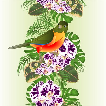 Vertical border seamless background  tropical bird  with flowers orchid spotted Phalaenopsis  floral arrangement, with beautiful  palm,philodendron and ficus vintage vector illustration  editable hand draw