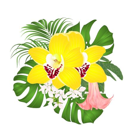 Bouquet with tropical flowers  floral arrangement, with beautiful yellow orchids cymbidium, palm,philodendron and Brugmansia  vintage vector illustration  editable hand draw Stock Illustratie
