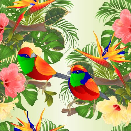 Seamless texture   tropical birds tropical flowers  pink and yellow hibiscus and Strelitzia palm,philodendron and ficus vintage vector illustration  editable hand draw Foto de archivo - 128184486