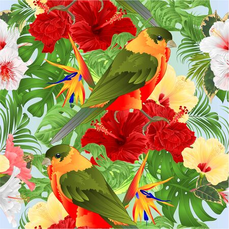 Seamless texture   tropical bird cute small  funny  bird and various  hibiscus and Strelitzia reginae monstera palm watercolor style on a white background vintage vector illustration hand draw editable