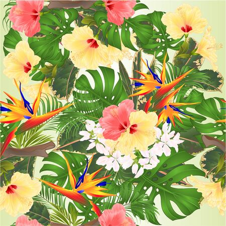 Seamless texture tropical background   Bouquet with tropical flowers Strelitzia and  pink and yellow hibiscus palm,philodendron and ficus vintage vector illustration editable hand draw Foto de archivo - 128434625