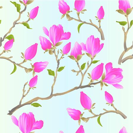 Seamless texture stem Chinese magnolia blooming pink flowers and buds with leaves  botanical spring herb background vintage vector illustration editable Hand draw Foto de archivo - 128434632