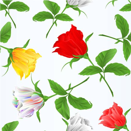Seamless texture rosebuds  red white yellow and pink roses  twig with leaves festive background vintage vector illustration editable hand draw
