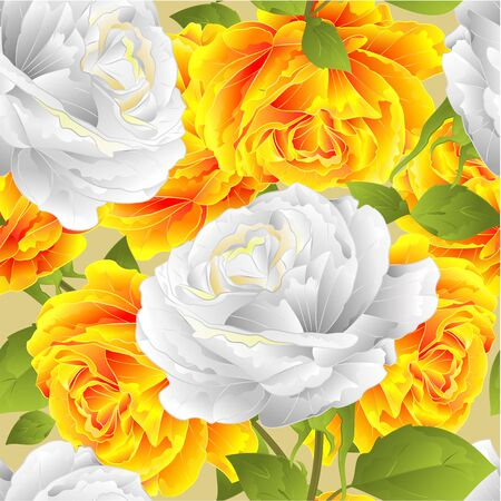 Seamless texture flower yellow and white roses festive background twig with leaves  vintage vector illustration editable hand draw Stock Illustratie