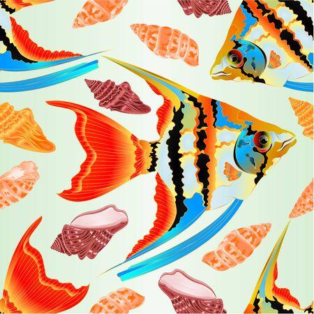 Seamless texture freshwater Pterophyllum Scalare Amazonian variety Angelfish aquarium fish and sea shells  on blue background vintage vector illustration editable hand draw