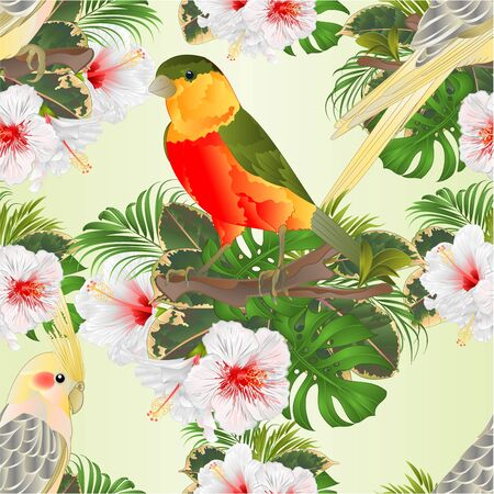 Seamless texture Yellow cockatiels cute tropical birds funny  parrots and tropical bird and white hibiscus watercolor style on a green background vintage vector illustration editable hand draw Foto de archivo - 128434642