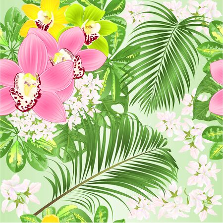 Seamless texture  tropical flowers  floral arrangement beautiful Orchids Cymbidium pink yellow green with  Schefflera  and palm and Monstera vintage vector illustration  editable hand draw