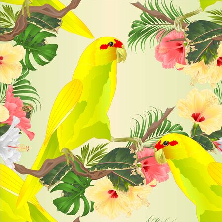 Seamless texture Bird Indian Ringneck Parrot in Yellow on branch with tropical flowers hibiscus, palm,philodendron watercolor  vintage vector illustration editable Hand draw Banco de Imagens - 129619738