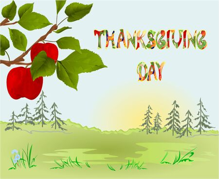 Happy Thanksgiving day  Card beautiful autumn landscape on sunny background elegant text lettering, copy space Countryside fall farm apple tree and red apples vintage vector editable hand draw Stock Illustratie