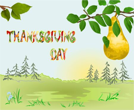 Happy Thanksgiving day  Card beautiful autumn landscape on sunny background elegant text lettering, copy space Countryside fall farm tree and yellow pear  vintage vector editable hand draw