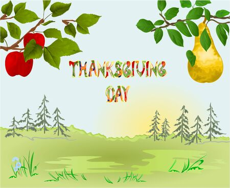 Happy Thanksgiving day  Card beautiful autumn landscape on sunny background elegant text lettering, copy space Countryside fall farm branches apple tree with red apples and pears vintage vector editable hand draw Stock Illustratie