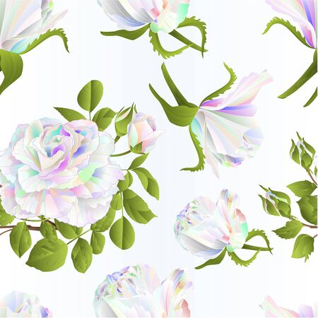 Seamless texture multicolored  roses and buds festive background watercolor vintage vector botanical illustration editable hand draw Stock Illustratie