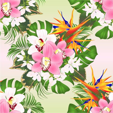 Seamless texture tropical flowers  floral arrangement with beautiful Strelitzia  and white and pink orchids Cymbidium  palm,philodendron and ficus vintage vector illustration  editable hand draw Stock Illustratie