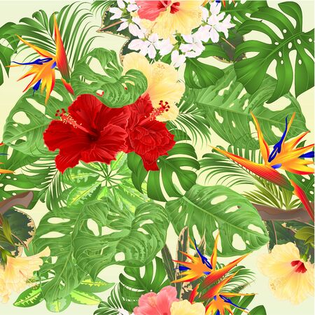 Seamless texture Tropical  background  with tropical flowers pink and yellow hibiscus and Strelitzia  and Sansevieria palm,philodendron and ficus vintage vector illustration Stock Illustratie